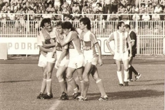 Spartak - Crvena zvezda 1-1, 17.08.1986, radost Spartakovih fudbalera nakon izjednačujućeg gola Čave Dimitrijevića